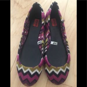 Missoni Flats, sm 9.5.iconic fabric.w/leather
